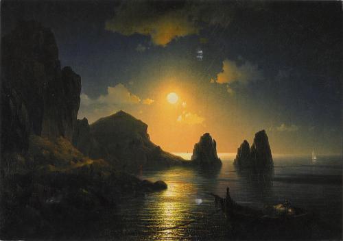 Ivan Aivazovsky - Seascape in moonlight