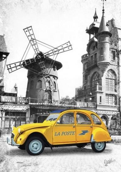 Le Moulin Rouge et la 2 CV de la poste