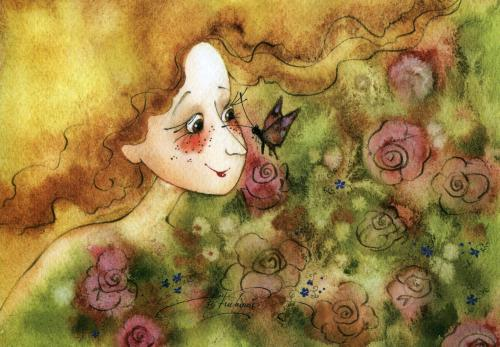 La fille au papillon - illustration de Viktoria Kirdy