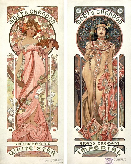 Moët et Chandon - illustrations de Mucha