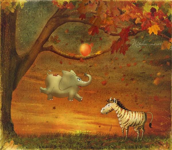 Pourquoi les éléphant ne volent pas - illustration de Nathalie Maroz