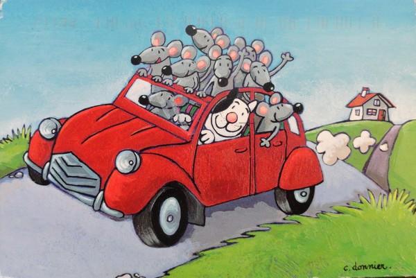 1 chat, 2 chevaux, des souris à gogo - illustration de Christine Donnier