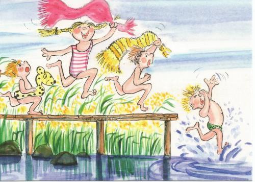 Tout le monde à leau - illustration de Virpi Pekkala