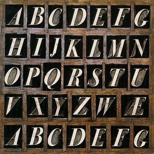Caractères de l'alphabet Bodoni