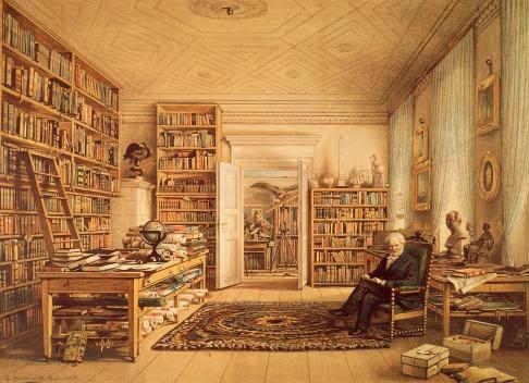Alexander von Humboldt dans sa bibliothèque - lithographie Eduard Hildebrandt
