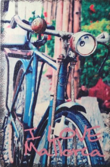La bicyclette bleue (Majorque) - carte en bois