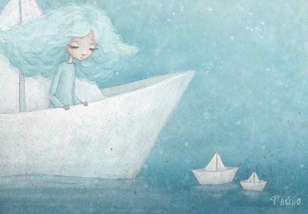 Les bateaux de papier - illustration de Sasha Salmina