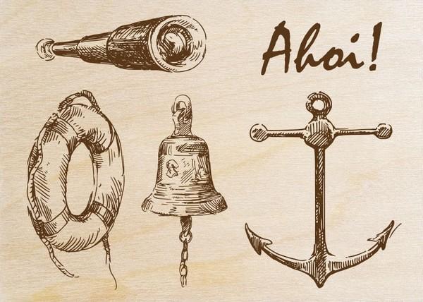 Ahoi (carte en bois)