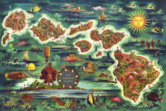 Carte des îles dHawaii - illustration de Joe Fehér (années 1950)