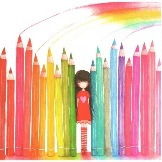 Les crayons arc-en-ciel - illustration de Mila Gablusova