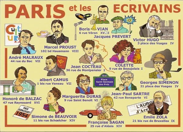 Paris et les écrivains - illustration de Michel Tanélian