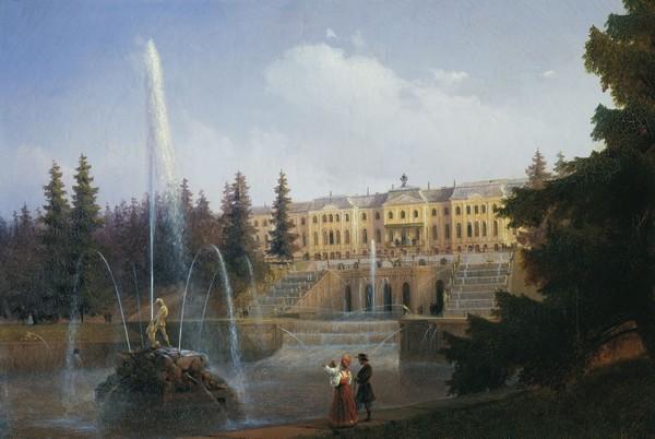 Vue du palais de Peterhof (Saint-Pétersbourg) - toile dIvan Aizavovsky