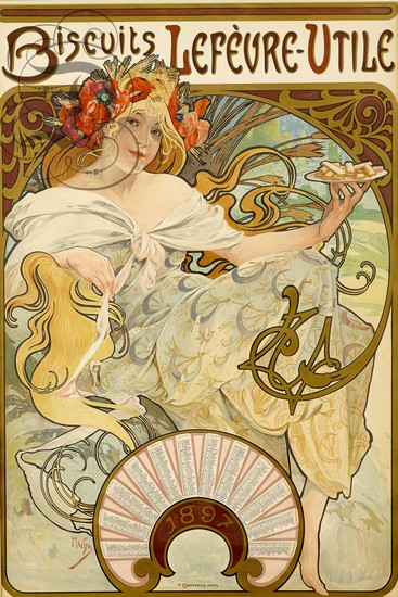 Biscuits Lefèvre-utile - illustration dAlphonse Mucha (1897)