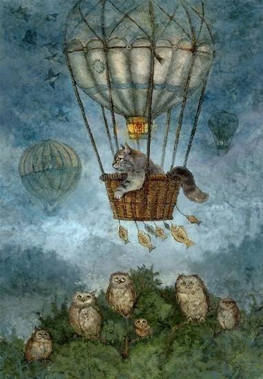 Voyage en ballon - toile de Galla Yagorenkova