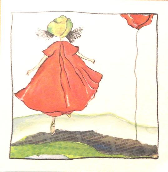 Petite fille aux coquelicots - illustartion de Maîté Laboudigue