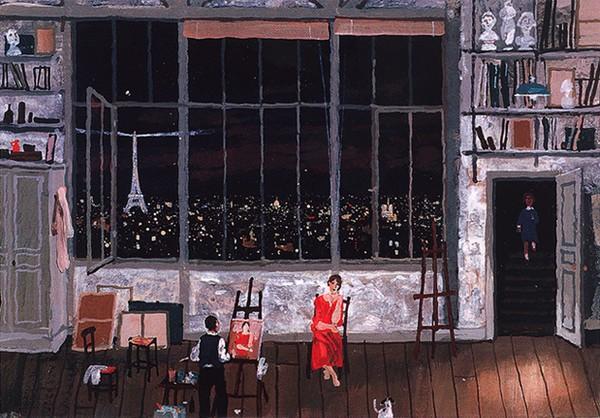 Atelier le soir - toile de Michel Delacroix