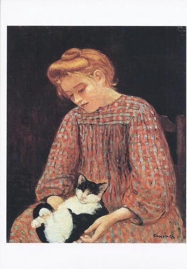 La jeune fille et le chat - toile de Charles Camoin
