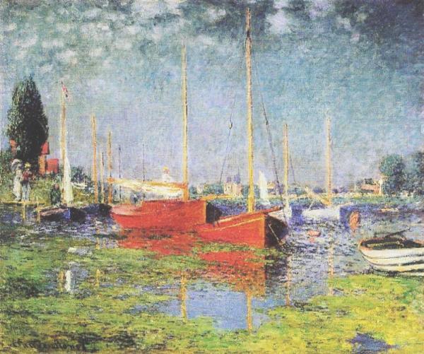 Les bateaux rouges - toile de Claude Monet
