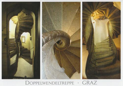 Escalier double dans une maison de Graz, Autriche