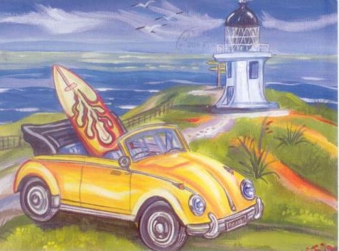 The classic VW parked at Cape Regina, New Zeland - toile de Caren Glazer