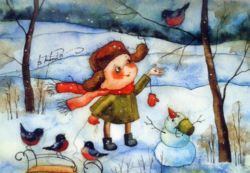 L,enfant et l'oiseau - illustration de Victoria Kirdy