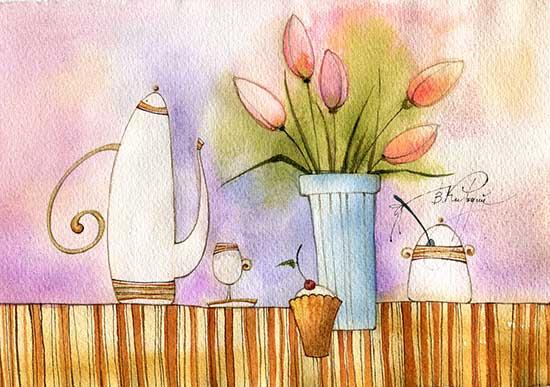 Théière et tulipes - aquarelles de Victoria Kirdy