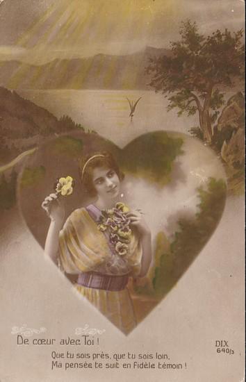 De coeur avec toi - carte postée en 1917