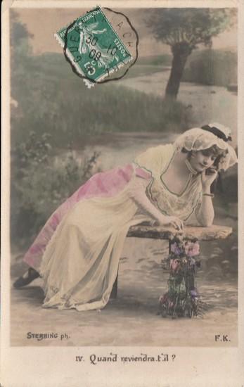 Quand reviendra-t-il - carte postée en 1909