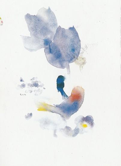 Tulipe bleue et oiseau