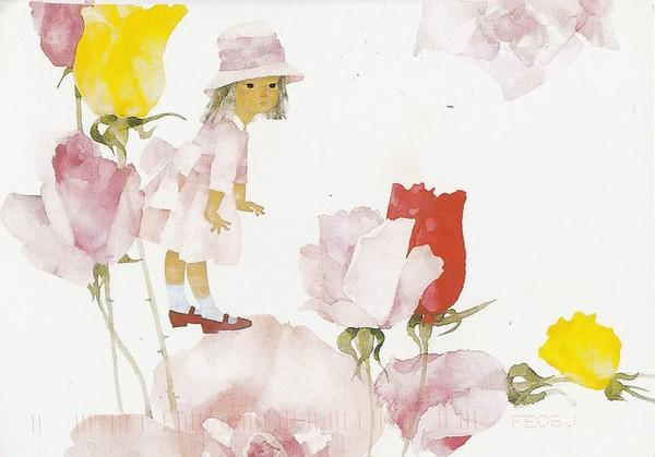 la fillette et les roses